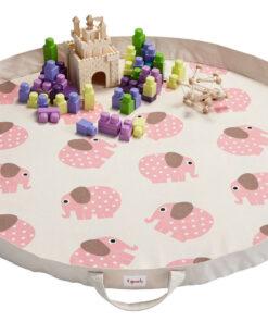 Tappeto gioco e borsa 2 in 1 elefante rosa - 3 Sprouts